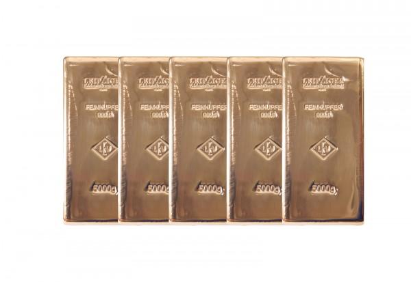 Kupferbarren 5000 g im 5er Set