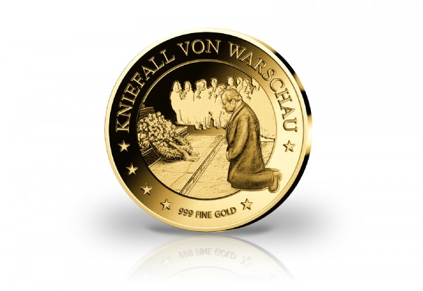 Goldmünze Motiv Kniefall 2020