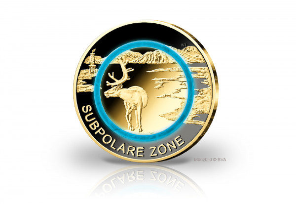 5 Euro 2020 Deutschland Subpolare Zone mit Ruthenium und 24 Karat Goldauflage