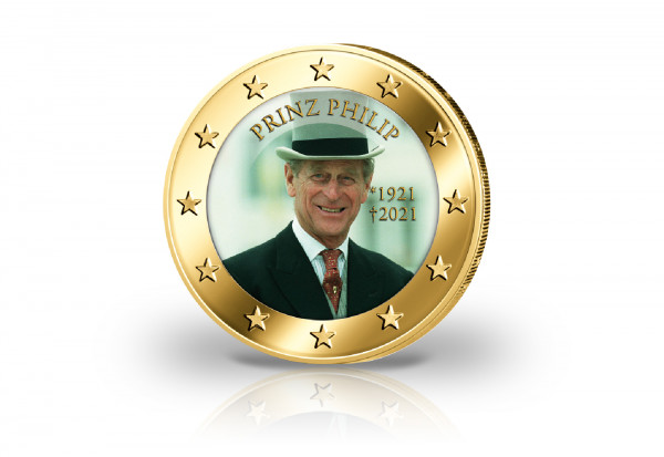 2 Euro mit Farbmotiv und 24 Karat Goldauflage Prinz Philip