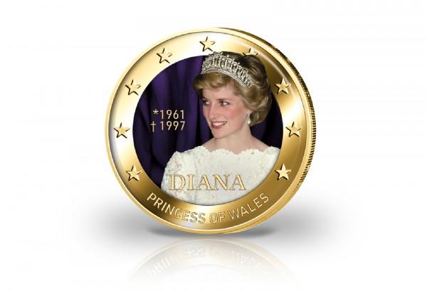 2 Euro mit Farbmotiv und 24 Karat Goldauflage Prinzessin Diana