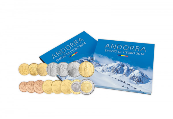 Kursmünzensatz 2014 Andorra inkl. Voreuro-Satz 2013 Andorra im Blister