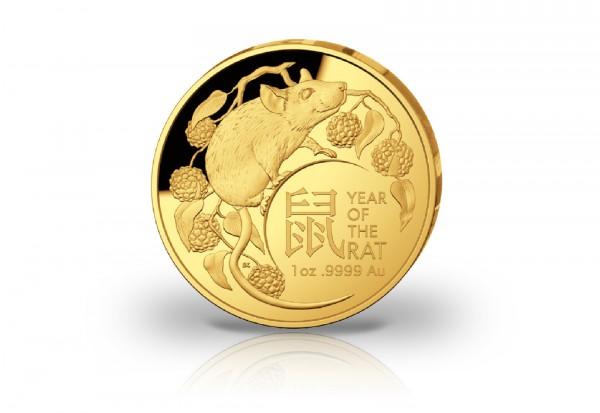 Lunar Serie III 1 oz Gold 2020 Australien Jahr der Maus PP gewölbt