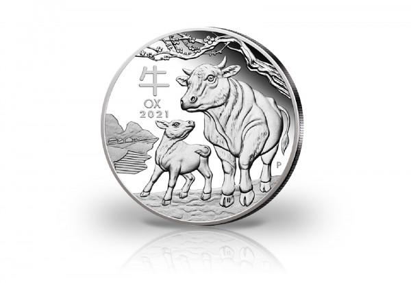 Lunar Serie 1 oz Silber 2021 Australien Jahr des Ochsen