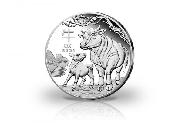 Lunar Serie 2 oz Silber 2021 Australien Jahr des Ochsen