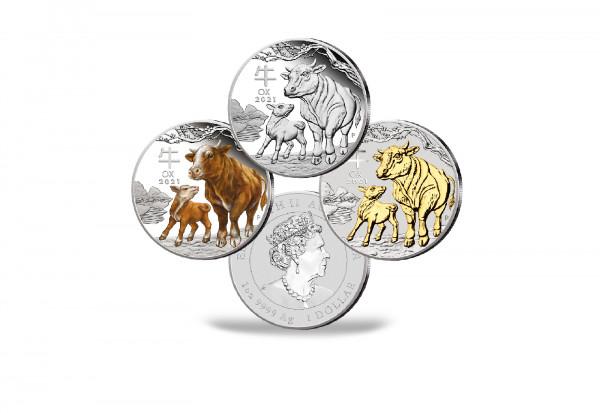 Lunar Serie 1 oz Silber 2021 Australien Jahr des Ochsen 3er Set