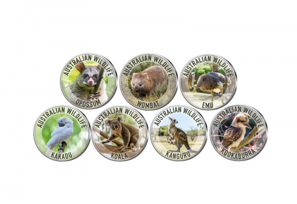 Australian Wildlife 7er Kollektion mit Farbmotiv im Etui inkl. Zertifikat