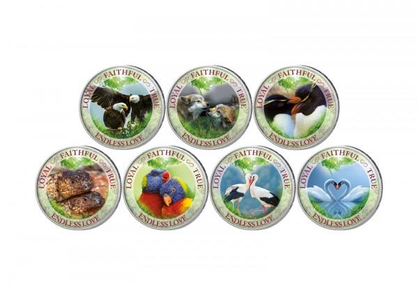 Tiere Monogamie 7er Kollektion mit Farbmotiv im Etui inkl. Zertifikat
