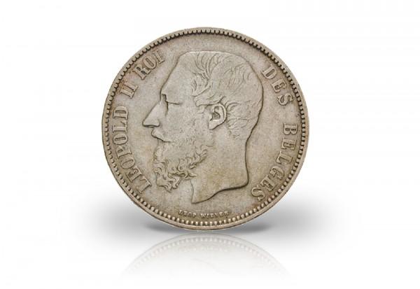 Belgien 5 Francs 1865-18766 ss/vz Leopold II