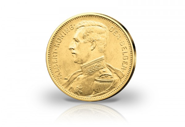 20 Francs Goldmünze 1914 Belgien König Albert I. in Uniform