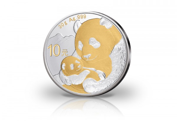 Panda 30 Gramm Silber 2019 China veredelt mit 24 Karat Goldapplikation