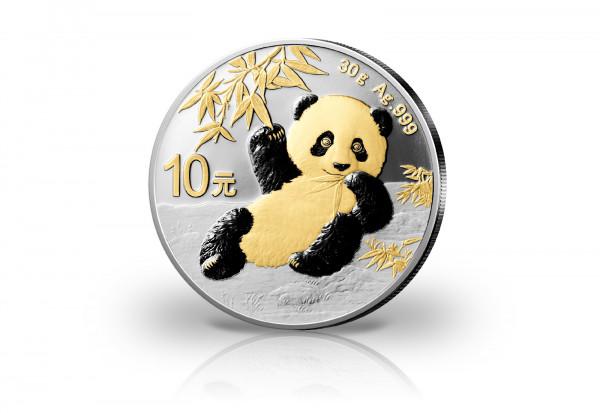 Panda 30 Gramm Silber 2020 China veredelt mit 24 Karat Goldapplikation