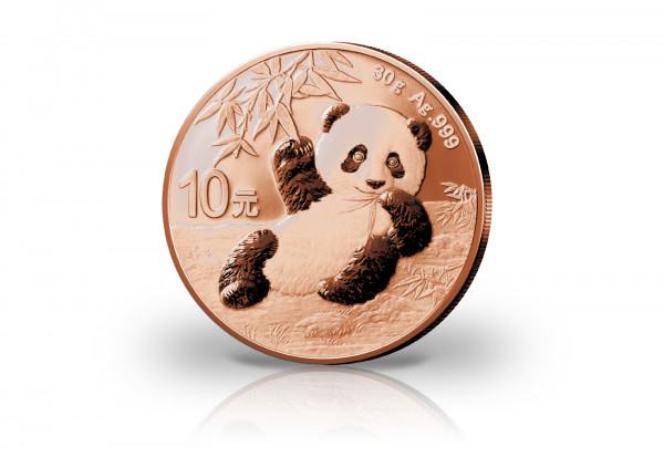 Panda 30 Gramm Silber 2020 China veredelt mit Rotgold