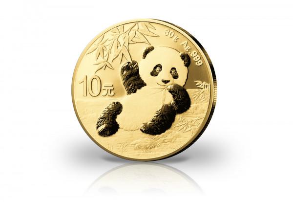 Panda 30 Gramm Silber 2020 China veredelt mit 24 Karat Gold