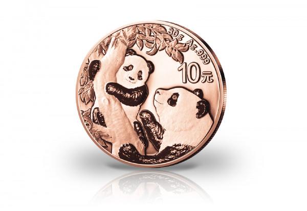 Panda 30 Gramm Silber 2021 China veredelt mit Rotgold
