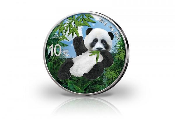 Panda 30 Gramm Silber 2020 China veredelt mit Farbapplikation