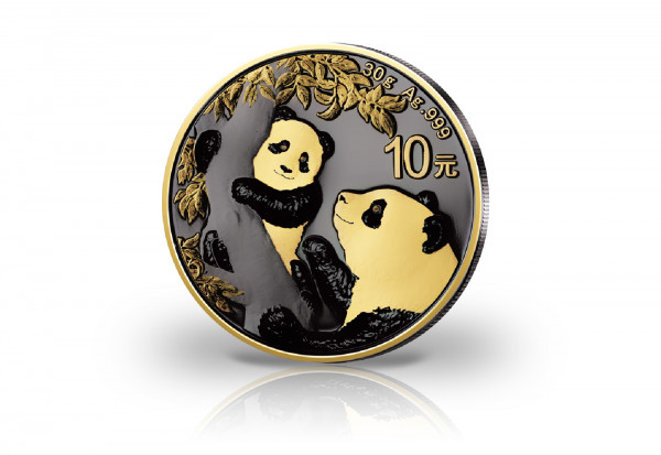 Panda 30 Gramm Silber 2021 China veredelt mit Ruthenium und 24 Karat Goldapplikation