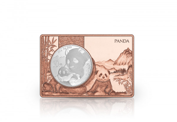 Panda 30 Gramm Silber 2019 China eingefasst in einem Kupferbarren