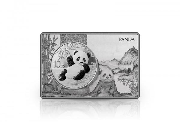 Panda 30 Gramm Silber 2020 China eingefasst in einem Barren