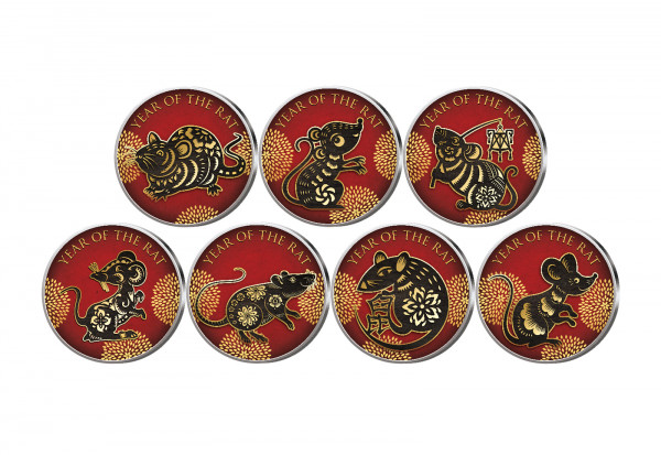Lunar Jahr der Ratte 7er Kollektion mit Farbmotiv im Etui inkl. Zertifikat