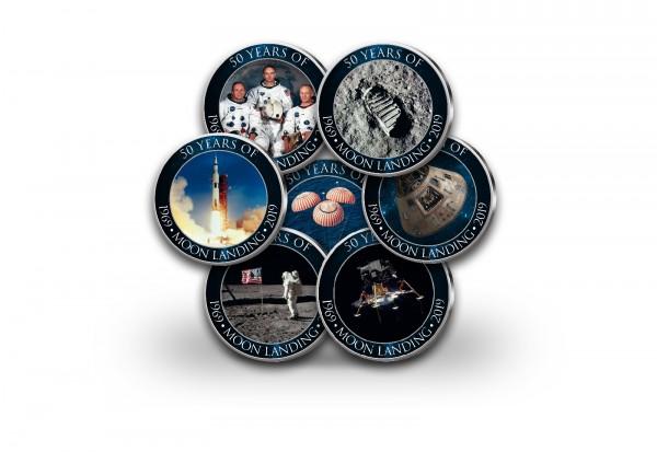 50 Jahre Mondlandung 7er Kollektion mit Farbmotiv im Etui inkl. Zertifikat