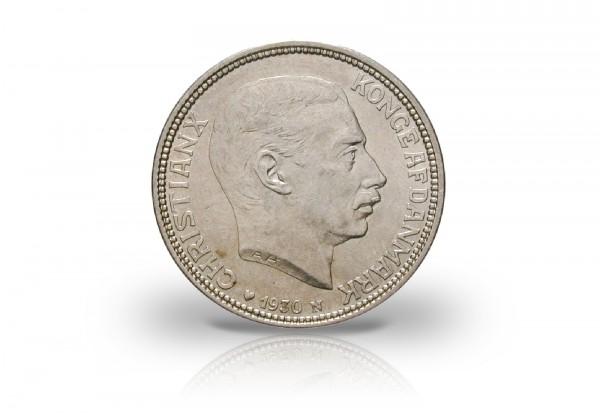 2 Kronen Silbermünze 1930 Dänemark Christian X.