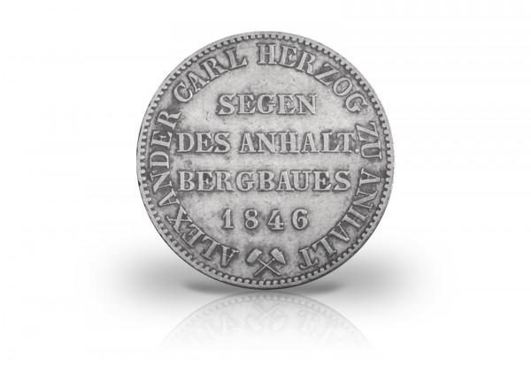 Anhalt Ausbeutetaler 1846-1855 Herzog Alexander Carl Silber AKS 16 Thun 3