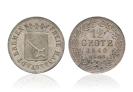 Bremen 12 Grote 1859-1860 sehr schön + gekröntes Wappen / Eichenkranz