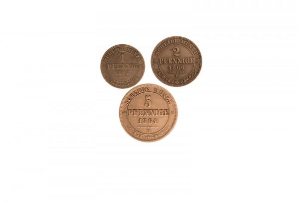 Sachsens 1-5 Pfennig 1850 bis 1873 Stadtpfennig