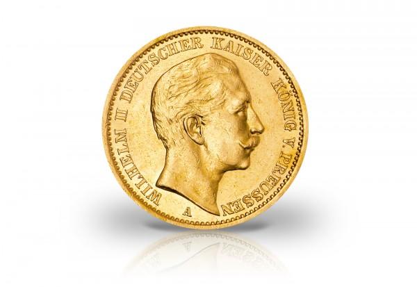 20 Mark Goldmünze 1889 Kaiserreich Preußen Kaiser Wilhelm II. Prägestätte A Jaeger-Nr. 250