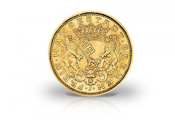 Kaiserreich 10 Mark Goldmünze 1907 Hansestadt Bremen