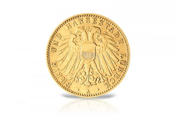 10 Mark Goldmünze 1905-1910 Deutsches Kaiserreich Freie Hansestadt Lübeck Jaeger-Nr. 228