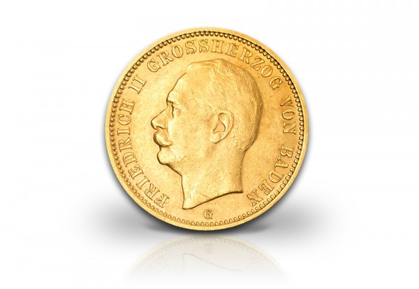 Kaiserreich 10 Mark 1909-1913 Friedrich II. Baden Gold J. 191