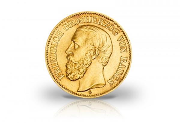 10 Mark Goldmünze 1872-1873 Deutsches Kaiserreich Baden Großherzog Friedrich I. Jaeger-Nr. 183