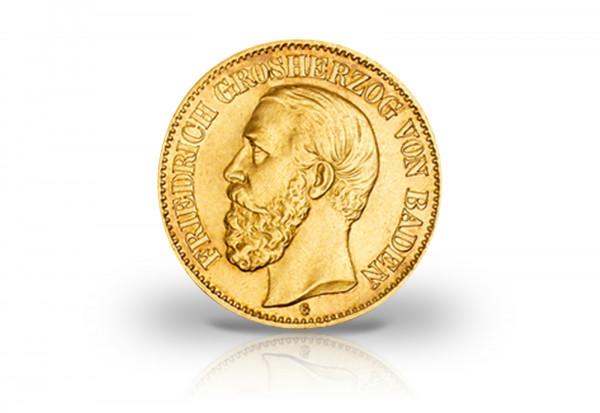 10 Mark Goldmünze 1875-1888 Deutsches Kaiserreich Baden Großherzog Friedrich I. Jaeger-Nr. 186