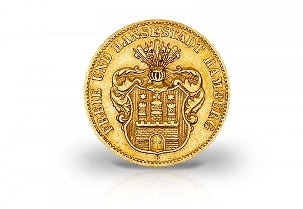 10 Mark Goldmünze 1875-1888 Deutsches Kaiserreich Hamburg Wappen kleiner Adler Jaeger-Nr. 209