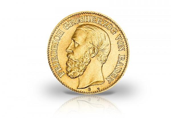 5 Mark Goldmünze 1877 Deutsches Kaiserreich Baden Großherzog Friedrich I. Jaeger-Nr. 185