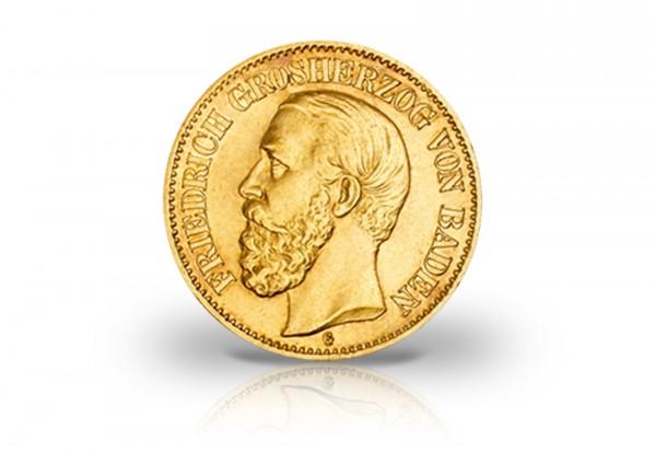 20 Mark Goldmünze 1874 Kaiserreich Baden Friedrich I. Jaeger-Nr. 187