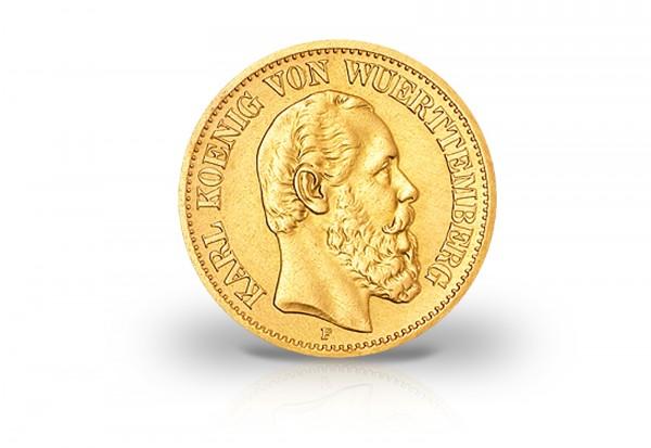 5 Mark Goldmünze 1877 Deutsches Kaiserreich Württemberg König Karl Jaeger-Nr. 291