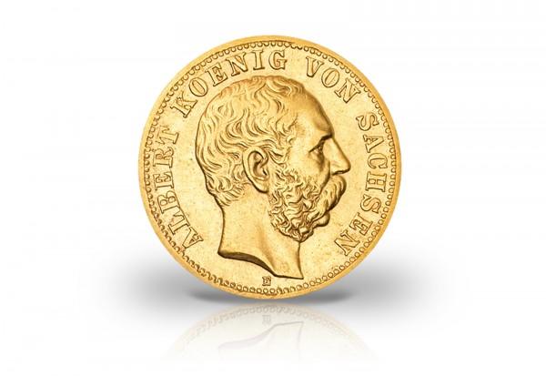 10 Mark Goldmünze 1874-1888 Deutsches Kaiserreich Sachsen König Albert Jaeger-Nr. 261