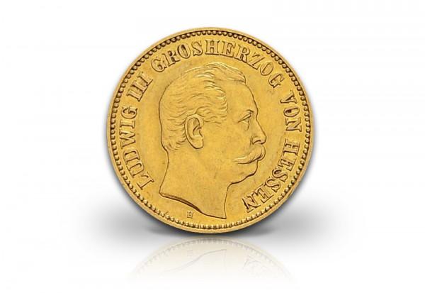 5 Mark Goldmünze 1877 Deutsches Kaiserreich Hessen Ludwig III. Jaeger-Nr. 215