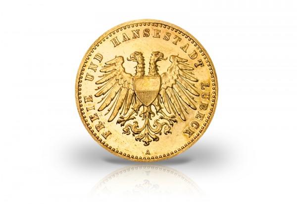 10 Mark Goldmünze 1904 Deutsches Kaiserreich Freie Hansestadt Lübeck Jaeger-Nr. 227