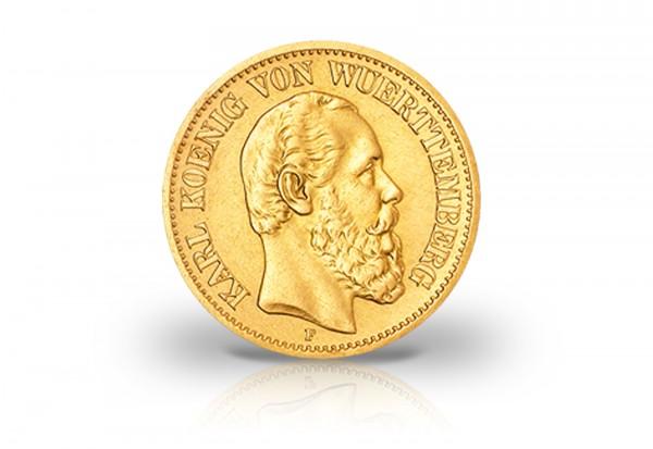 20 Mark Goldmünze 1873 Deutsches Kaiserreich Württemberg König Karl Jaeger-Nr. 290