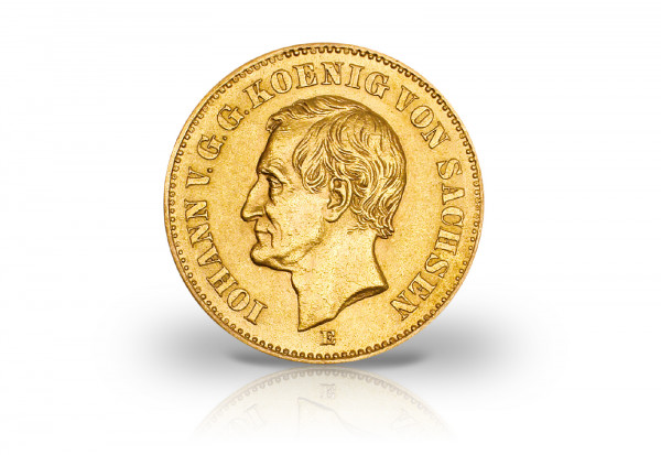 20 Mark Goldmünze 1873 Deutsches Kaiserreich Sachsen König Johann Jager-Nr. 259