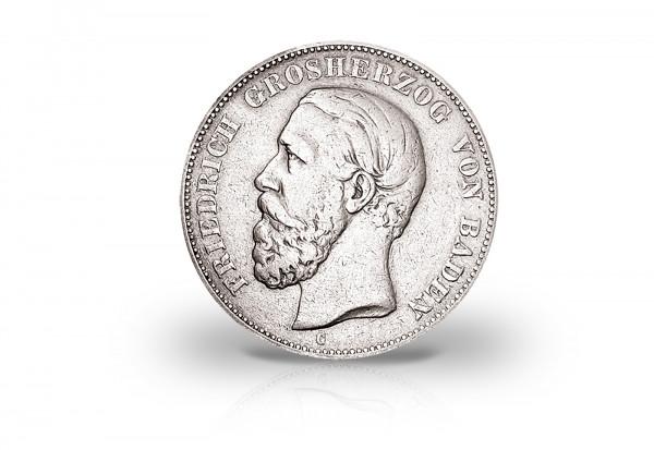 5 Mark 1875-1888 Deutsches Kaiserreich Baden Großherzog Friedrich I. Jaeger-Nr. 27