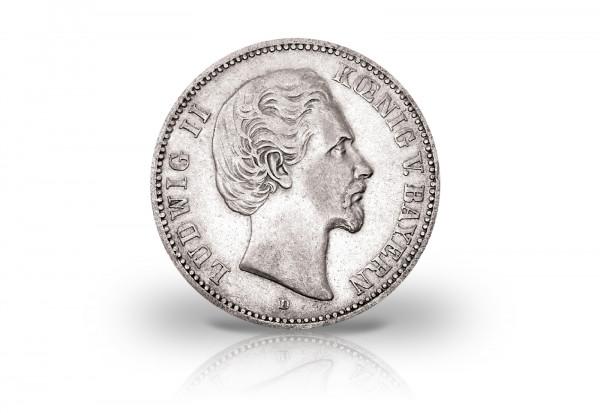 2 Mark 1876-1883 Deutsches Kaiserreich Bayern Ludwig II. Jaeger-Nr. 41