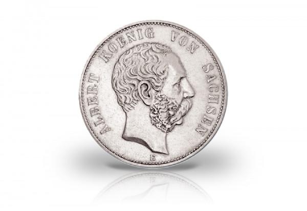 2 Mark 1876-1888 Deutsches Kaiserreich Sachsen König Albert Jaeger-Nr. 121