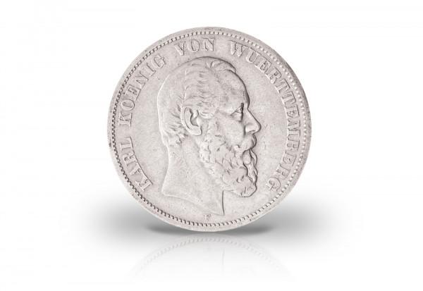 2 Mark 1876-1888 Deutsches Kaiserreich Württemberg König Karl Jaeger-Nr. 172
