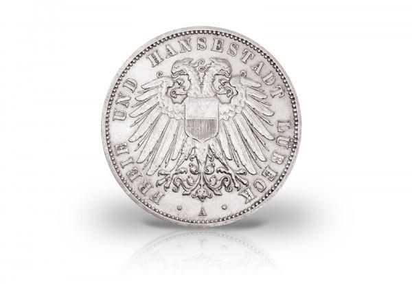 3 Mark 1908-1914 Deutsches Kaiserreich Lübeck Wappen Jaeger-Nr. 82