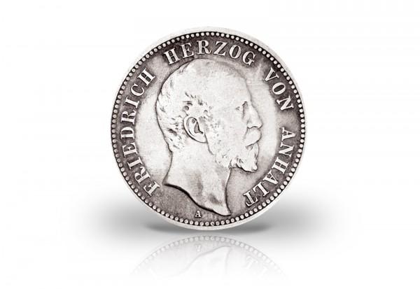 Anhalt 5 Mark Silbermünze 1896 Friedrich I Regierungsjubiläum